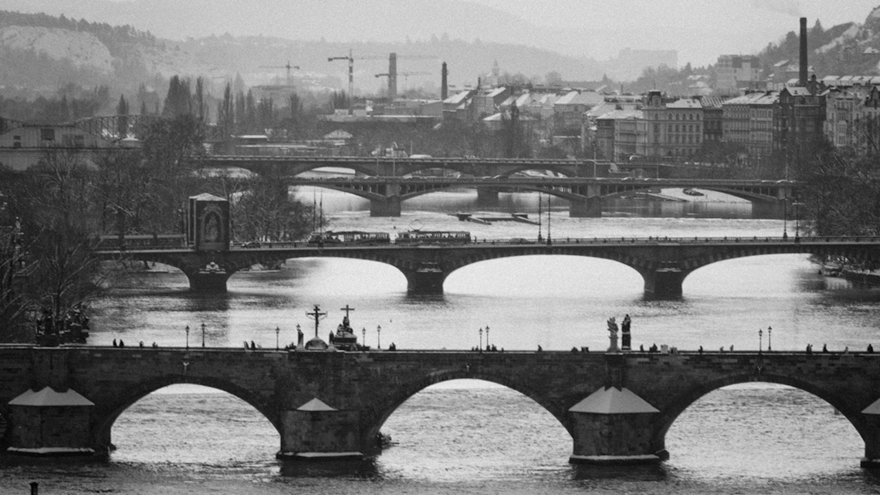Prague River View of Bridges